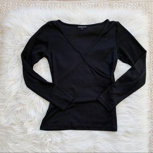Zimmermann Black V Neck Long Sleeve Top